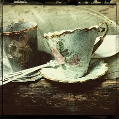 Miss Clara's hand made tea cups made of paper mache. She is awesome.
