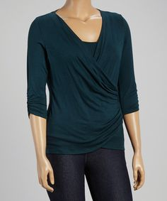 Look what I found on #zulily! Green Ruched Surplice Top - Plus #zulilyfinds
