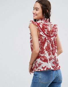 ASOS High Neck Blouse With Ruffle Lace Bib In Print - Multi