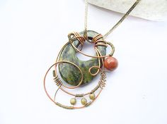 Time Traveler Necklace - handmade pendant with goldstone and jasper gemstones, unique wire wrapped charm, fantasy cosplay, hidden treasury
