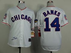 MLB Throwback Jersey Chicago Cubs #14 Banks white Jersey