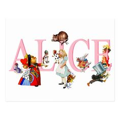 Alice in Wonderland and Friends Postcard
