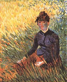 Woman Sitting in the Grass, Vincent Van Gogh Oil on cardboard, x cm, Private collection vangogh postimpressionism painting Vincent Van Gogh, Art Van, Dutch Artists, Famous Artists, Claude Monet, Desenhos Van Gogh, Rembrandt, Van Gogh Arte, Van Gogh Pinturas