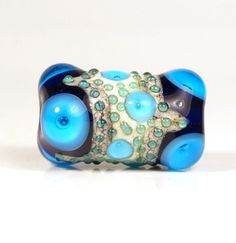 Large Cobalt, Blue and Ivory Lampwork Focal Glass Bead