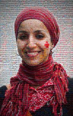 Mosaic made with 2850 portraits of women of Canada - International women day, march 2014