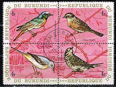 BURUNDI flora | Burundi-African-Fauna-Birds-stamps-block-1971