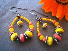 CUSTOM ORDER Tropical Orange & Yellow Beaded by sunrisetreasures, $39.00