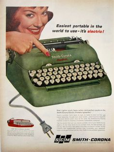 1960 Smith Corona Typewriter Vintage Advertisement Office Wall Art Author Library Decor Original Magazine Print Ad Writer Paper Ephemera by RelicEclectic on Etsy