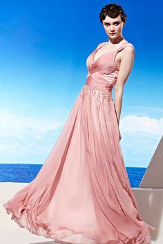 Long Draping A-line Beaded Criss Cross Tencel Evening Dress picture 2