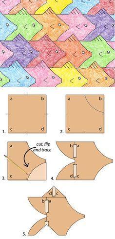 Fish Tessellation diagram M.C. Escher - tessellation