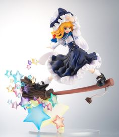 This cute witch is one of the most important characters from the popular doujin game franchise from Team Shanghai Alice, *Touhou Project*. This fantastic statue perfectly recreates the human magician Marisa Kirisame in all her magical glory complete with her classic witch's outfit and places her on top of a wonderfully dynamic diorama base featuring her broom rushing out of a cloud of stars. She e...