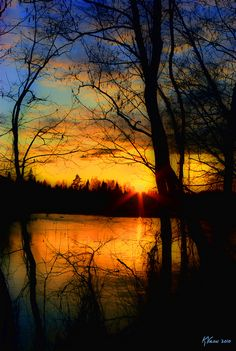 Sunset, water, silhouette, trees, reflection, photography