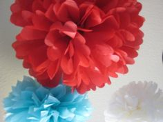 Circus Fever  10 Tissue Paper Pom Poms by prosttothehost on Etsy, $35.00