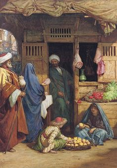 Henry Wallis (British, 1830-1916)  A fruit market, Suez