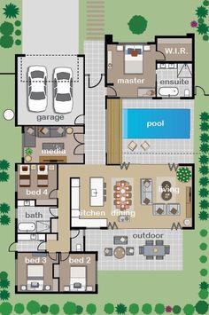 Denah Rumah 370421138102840978 - Plan de maison 🏡 Source by adeeliinek Pool House Plans, Sims House Plans, House Layout Plans, New House Plans, Dream House Plans, Modern House Plans, Small House Plans, House Layouts, Modern House Design