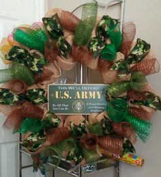 Army camo deco mesh wreath