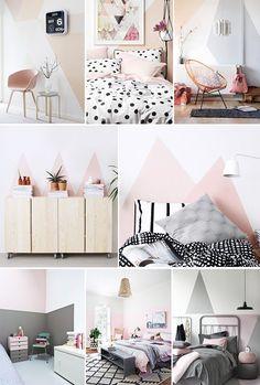 Geometrische Wände in Pastelfarben