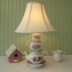 Teapot Lamp Floral Pink Roses Tea Cup and Saucer by ThistleandJug.