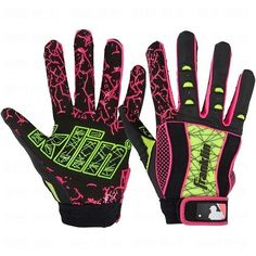 Batting Gloves Youth Large Franklin Insanity Pink Optic Yellow Black #Franklin