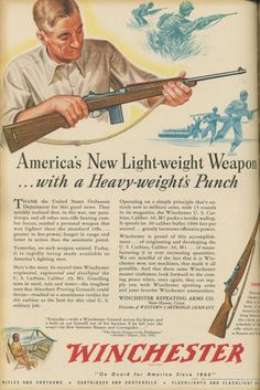 Winchester ad for the M1 Carbine.  Unlike the M1 Garand, the Carbine did not pack a punch.  It isn't even worth using on hogs.