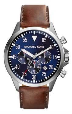 Michael Kors leather strap watch  http://rstyle.me/n/uvbqipdpe