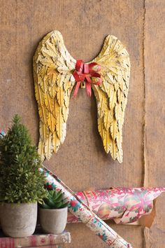 Rustic shabby metal Angel Wings with red bow - wall decor