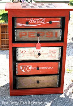 Repurposed soda crates made into drawers. Recycled refurbished antiques antique vintage retro furniture Repurposed soda crates made into drawers. Recycled refurbished antiques antique vintage retro furniture home decor Funky Junk Interiors, Repurposed Furniture, Diy Furniture, Retro Furniture, Dresser Furniture, Antique Furniture, Recycled Dresser, Diy Nightstand, Diy Desk