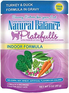 Natural Balance Platefulls Indoor Turkey  Duck Formula in Gravy Cat Food  24x3 oz >>> Check out the image by visiting the link.