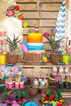 """Beach / surf / Birthday """"Sun, Sand and Surf! Lets catch a wave! Luau Pool Parties, Luau Theme Party, Aloha Party, Hawaiian Luau Party, Moana Birthday Party, Luau Birthday, Tiki Party, Tropical Party, Party Themes"""