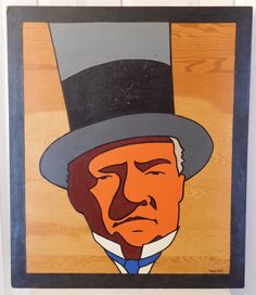 W C Fields Pop Art Painting by Charles Hall (1888 - 1970) Hollywood Signed Acrylic on Board - pinned by pin4etsy.com
