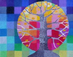 Tiny Test Pattern Tree 3 print with handpainted by StellaViolet