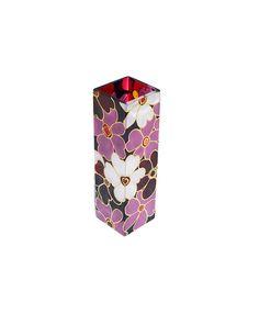 Hand Painted  Vase glass vase  floral botanical  design  flower pink purple white yellow art deco home decor