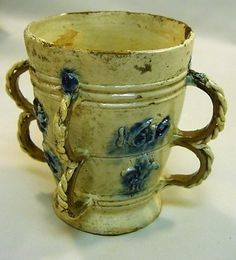 1612 Dated EARLY Slipware Loving Cup with Fleur-de-Lis