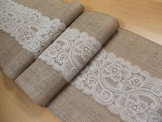 Burlap table runner wedding table runner with light beige lace rustic chic via Etsy