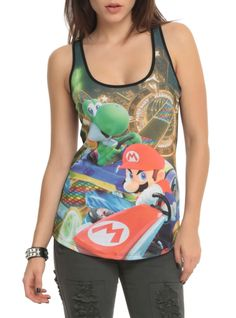 Racer back tank top from Mario Kart 8 with a sublimation print design on front. Geek Fashion, Cute Tank Tops, Mario Kart, Geek Chic, Our Girl, Apparel Design, Guys And Girls, Hot Topic, Athletic Tank Tops