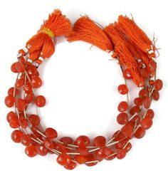 """1 Strand Natural Carnelian Heart Shape Briolette Faceted Stone 10X11mm 7"""" Long"""