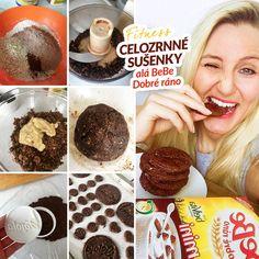 Fitness celozrnné sušenky alá BeBe Dobré ráno - zdravý recept Bajola Kefir, Cereal, Healthy Recipes, Cookies, Chocolate, Baking, Breakfast, Sweet, Desserts