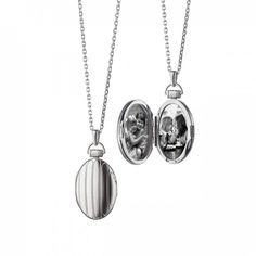 """$425 MRK Oval Pinstriped Locket Pendant on a 32"""" chain: http://www.desiresbymikolay.com/collections/monica-rich-kosann/products/mrk-oval-pinstripe-locket-pendant-silver"""