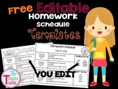 Enjoy this FREE month of MAY editable Homework Schedules Template with Spelling and Sight Word sections using Power Point.  The Template Teacher
