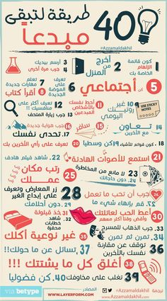 info graph about: 40 ways to be creative. Vie Motivation, Study Motivation, Beautiful Arabic Words, Arabic Love Quotes, Vie Positive, Positive Quotes, Positive Thoughts, Life Skills Activities, Learning Websites