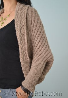 PDF Knitting Pattern for Tabitha Cocoon Cardigan from SweaterBabe.com