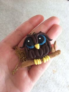 Polymer clay OWL on BRANCH PENDANT on Etsy, $7.00