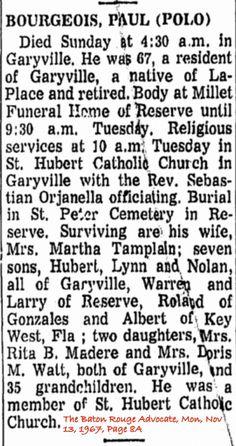 Albert A. Paul Polo Bourgeois Obituary