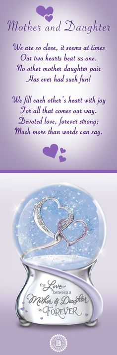 """Honor the bond between a mother and her daughter! This beautiful limited-edition glitter globe celebrates the heart of the most meaningful of relationships. It plays """"Always in My Heart"""" and includes a poem card."""