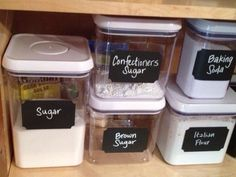 Loving chalkboard labels and airtight containers in the pantry. Chalkboard Labels, Teaching Kids, Organizers, Pantry, Kitchen Ideas, Home Goods, House Ideas, Organization, Cool Stuff