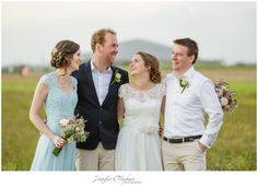 Hobnob bride dress, Blue Review bridesmaid dress, Groom Tux.