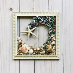 """8""""x 8"""" Seashell Wave Wall and/or Window Art/Seashell Art/Resin Art/Unique Coastal Decor/Sun Catcher/Beach House Decor/Great Christmas Gift  Handmade in South Carolina with high quality materials (seashells, crushed shells, finger starfish and resin) and secured with care. The design is bonded (not Rustic Bathroom Decor, Rustic Wall Art, Seashell Art, Window Art, Baby Sea Turtles, Turtle Gifts, Sun Catcher, Coastal Decor, Glass Wall Art"""