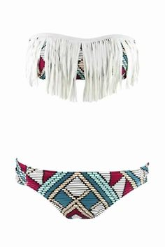 Tribal print and fringe - doesn't get much better.