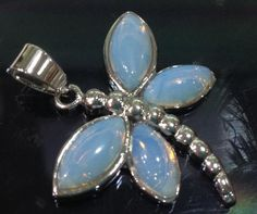 NEW  White Opal Dragonfly Pendant Necklace