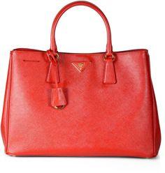 Prada Red Saffiano Lux Tote Bag